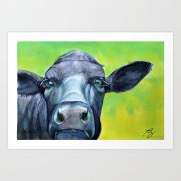 Curious (cow) Art Print