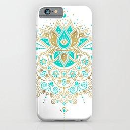 Sacred Lotus Mandala – Turquoise & Gold Palette iPhone Case