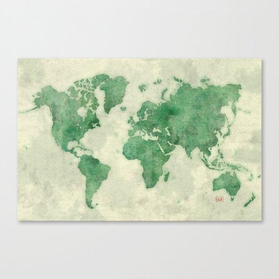 World Map Green Canvas Print
