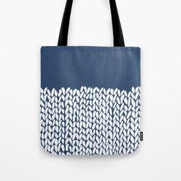 Half Knit Navy Tote Bag
