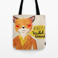 golden Tote Bags featuring Because I'm a Wild Animal by Nan Lawson