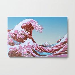Great Wave off Kanagawa Blue Sky Metal Print