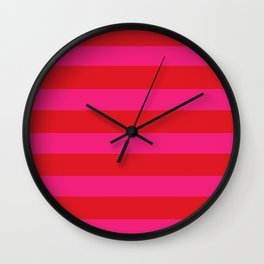 Red Horizontal Stripes Graphic Wall Clock