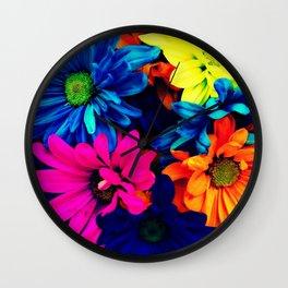 Neon Daisies Wall Clock