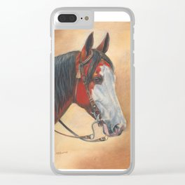 Trail Horse with Tassel on Bridle Clear iPhone Case