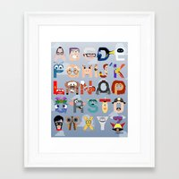 pixar Framed Art Prints featuring P is for Pixar (Pixar Alphabet) by Mike Boon