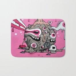 Urban Street Art: Pink Oozing Eye Creature (Buff Monster) Bath Mat