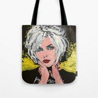 blondie Tote Bags featuring Blondie by Matt Pecson