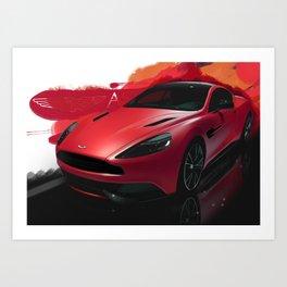 Aston Martin Vanquish S Digital Painting   Automotive   Car Art Print
