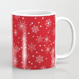 Red & White Snowflakes Pattern Coffee Mug
