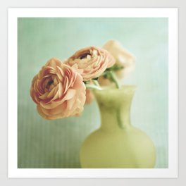 Peach Flowers on Mint Art Print