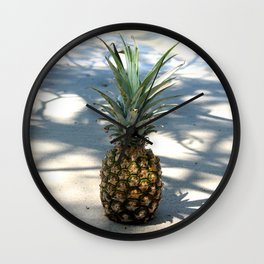 Pineapple in shadows Wall Clock