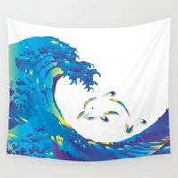hokusai Wall Tapestries featuring Hokusai Rainbow & dolphin_G by FACTORIE