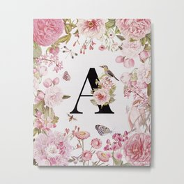 LETTER A MONOGRAM WALL ART WITH FLOWERS Metal Print