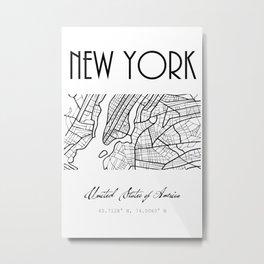 NEW YORK City, USA, Street Map & Coordinates Metal Print