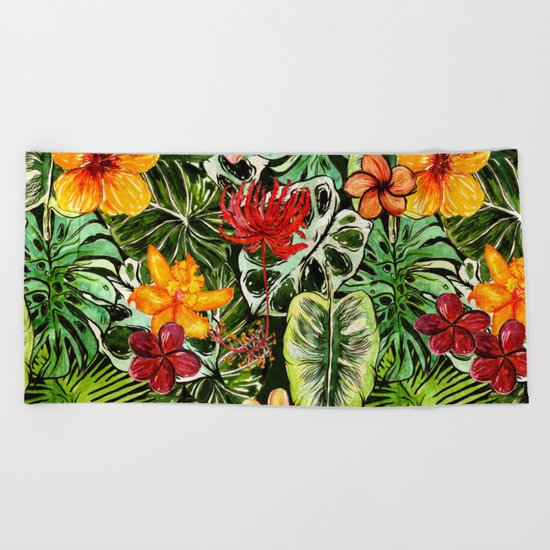 Tropical Vintage Exotic Jungle Flower Flowers - Floral watercolor pattern1on #Society6 Beach Towel