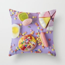 Rainbow Pastel Candy Throw Pillow