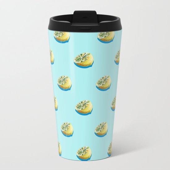 Lemonade Blue Metal Travel Mug