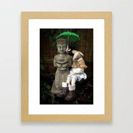 Miss Mouse and Garden Buddha Framed Art Print