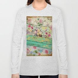 Villa Rosa Shabby Roses and Wood Long Sleeve T-shirt