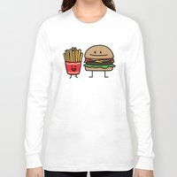 french fries Long Sleeve T-shirts featuring Happy Cheeseburger and French Fries by Berenice Limon