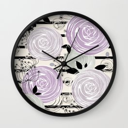Abstract floral pattern in gray , purple tones Wall Clock