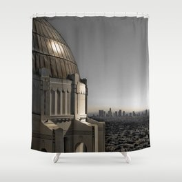 Griffith Park Observatory with Downtown LA Skyline Shower Curtain