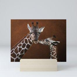 Love You - Affectionate Giraffes Mini Art Print