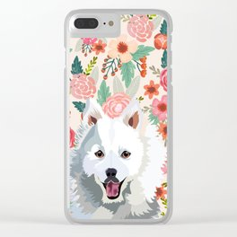 Japanese Spitz floral pet portrait wall art and gifts for dog breed lovers Clear iPhone Case