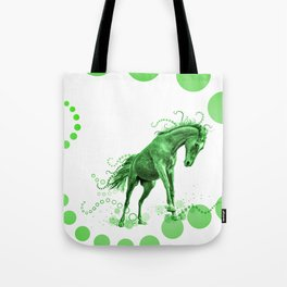 Playful Horse with Circles (green) Tote Bag