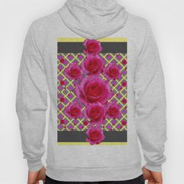 Fuchsia Roses Yellow-Grey Art Hoody
