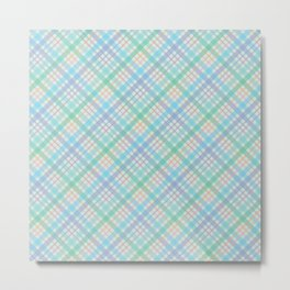 Colorful Plaid Pattern with Green Background Metal Print