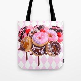 CHOCOLATE & PINK  STRAWBERRY GLAZED DONUTS ART Tote Bag