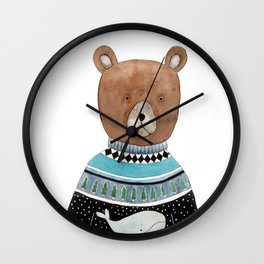 Bear in knitted sweater Wall Clock