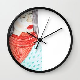 Beautiful lady with closed eyes in a red scarf wearing eyeglasses. Watercolor illustration. Wall Clock