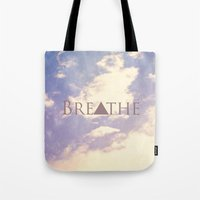 breathe Tote Bags featuring Breathe by Rachel Burbee