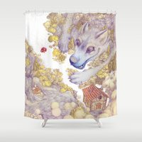red riding hood Shower Curtains featuring Lttle Red Riding Hood by Pictographe
