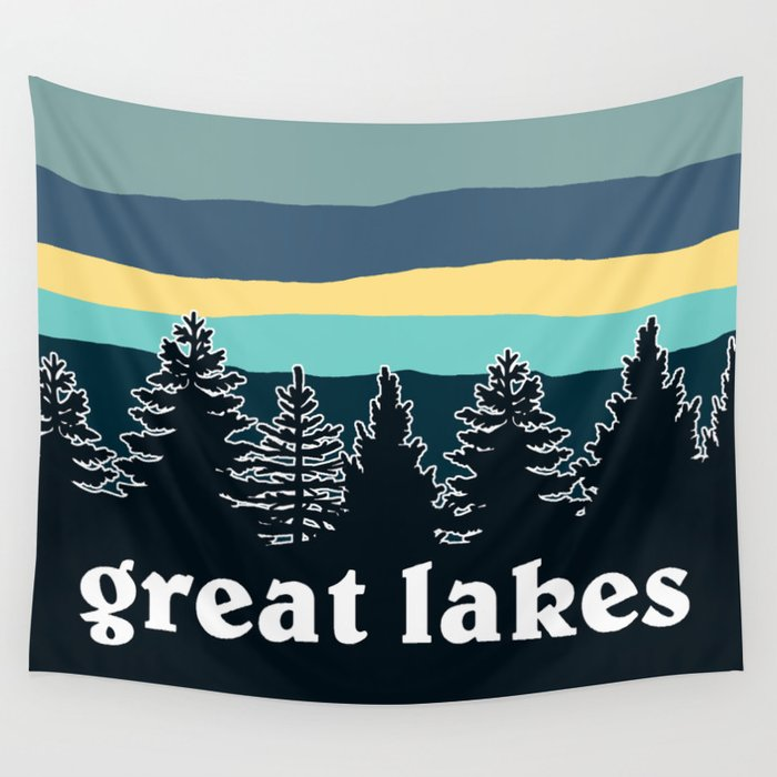 Great Lakes Tree Line Wall Tapestry