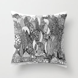 Mysterious Village Throw Pillow