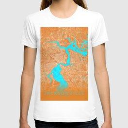 Jacksonville, FL, USA, Gold, Blue, City, Map T-shirt