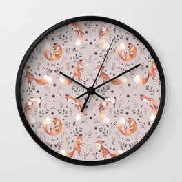 Fox pattern Wall Clock