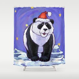 Panda Bear Christmas Shower Curtain