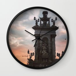 Plaza de Espanya morning glow Wall Clock