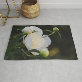 Portrait of a Peony at Dawn - Floral Photography Rug