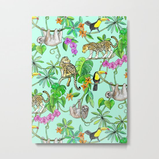 Rainforest Friends - watercolor animals on mint green Metal Print