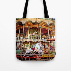 Double Decker Carnival Carousel Horse Tote Bag