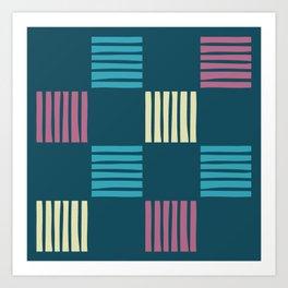Mid Century Modern Check and Stripes Pattern 230 Art Print