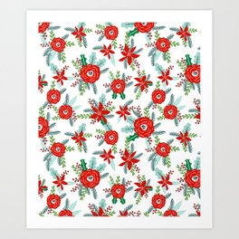 Poinsettia florals christmas festive holiday tradition thanksgiving red and white floral bouquet Art Print