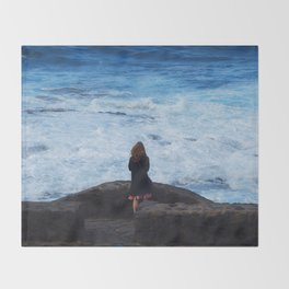 Ocean lover, meditation in front of the sea Throw Blanket