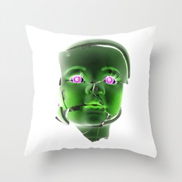 Freaky Halloween Broken Doll Zombie Face Green Throw Pillow